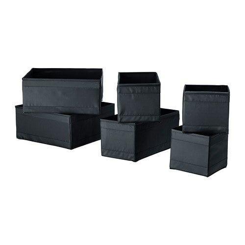 IKEA Skubb Boxes – Set of 6 – Black