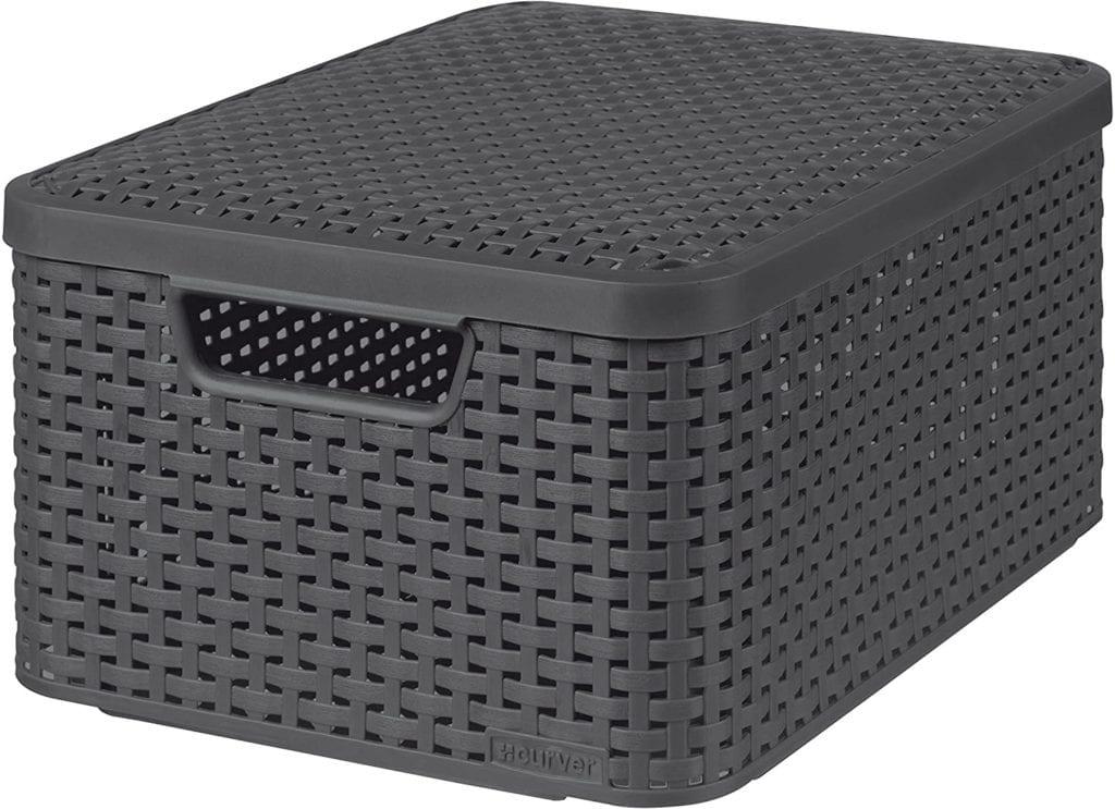 Curver Medium Faux Rattan Storage Box With Lid